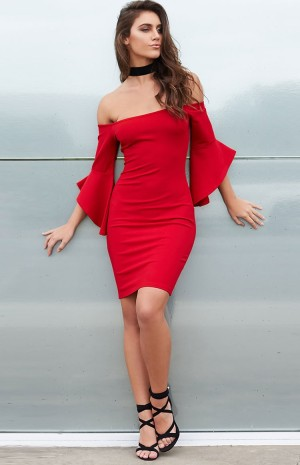 red-frill-sleeve-dress-n1