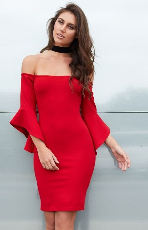 red-frill-sleeve-dress-n2