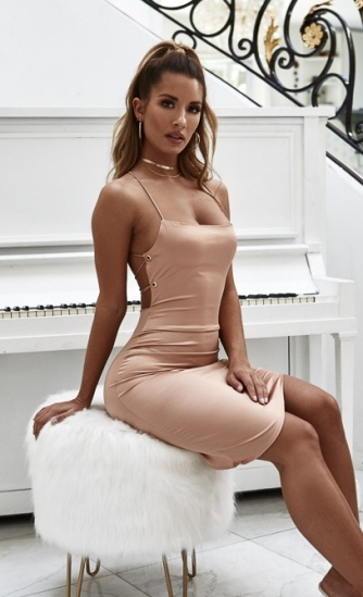 rose gold lace up dress