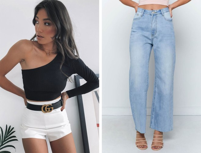 Black one shoulder crop top and straight leg light wash denim jeans