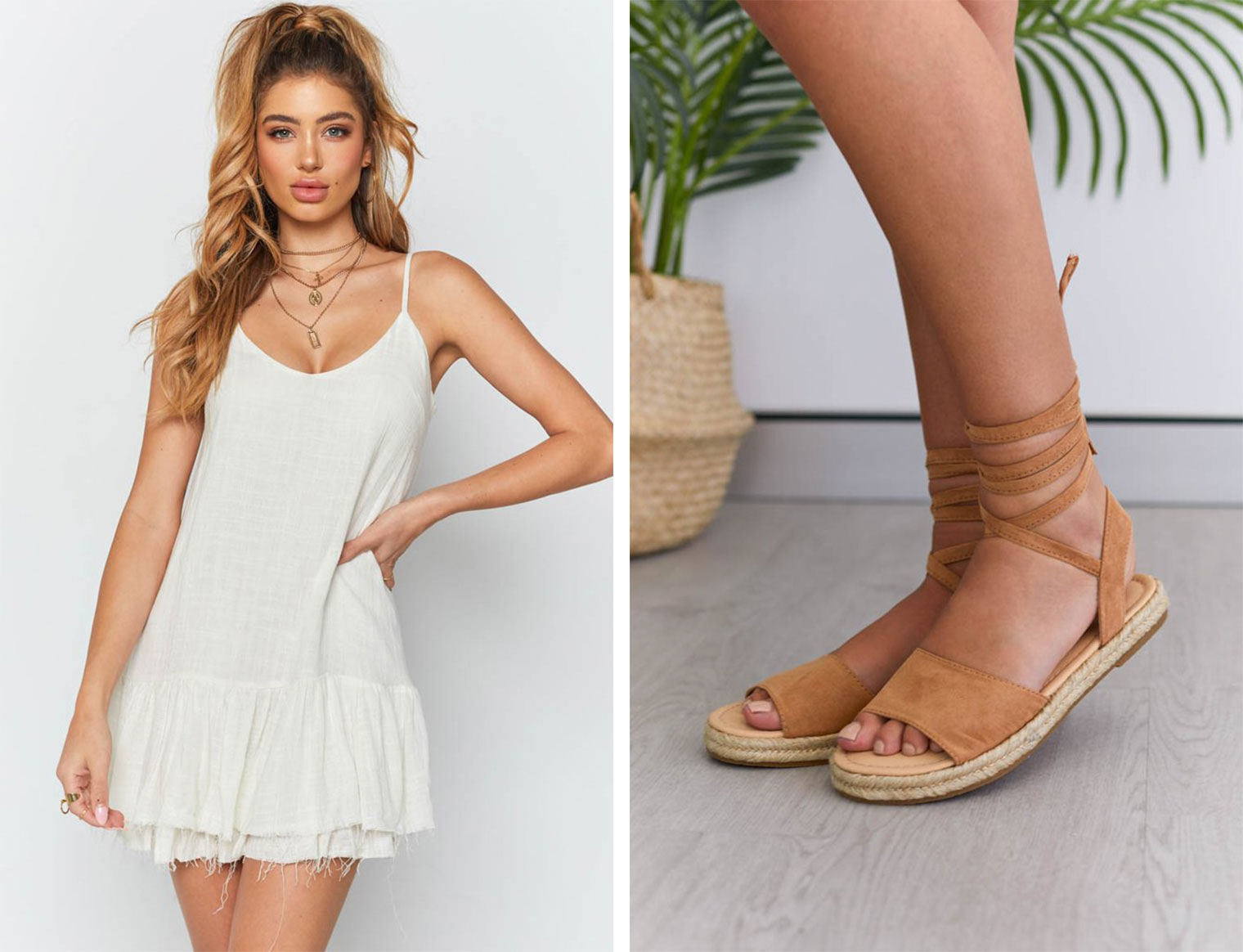 Cream linen dress and camel espadrilles